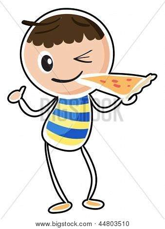 Illustration of a sketch of a boy eating a pizza on a white background