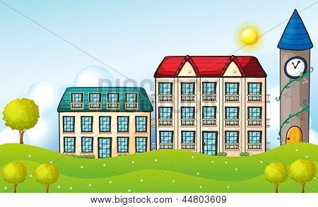 Illustration of the two dormitories across the hill