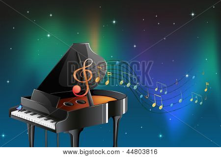 Illustration of a black piano with musical notes