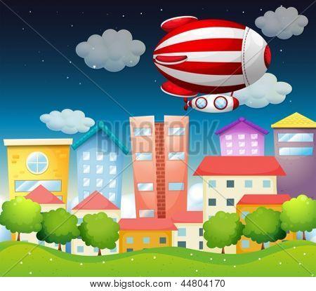 Abbildung eines Flugzeugs über die Gebäude