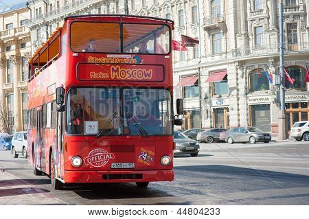 MOSCOW - APRIL 13: Sightseeing tour bus on April 13, 2013 in Moscow. Since 2013 double-decker buses start its work in Moscow, sightseeing tours in the capital of Russia became even more interesting