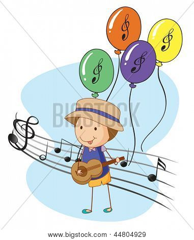 Illustration of a young musician with balloons at the back on a white background