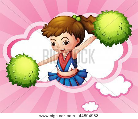 Illustration of a cheerleader with green pompoms inside a cloud