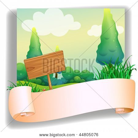 Illustration of an empty template in front of a wooden signboard on a white background