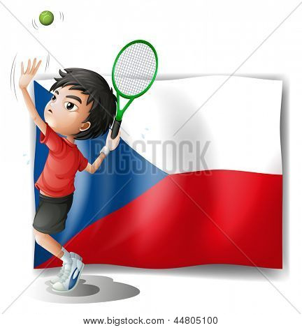 Illustration of the flag of Czech Republic and the tennis player on a white background