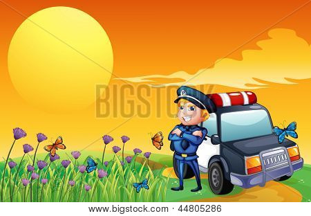 Illustration of a sunset view with a policeman and a car at the hill