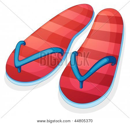 Illustration of a pair of red slippers on a white background