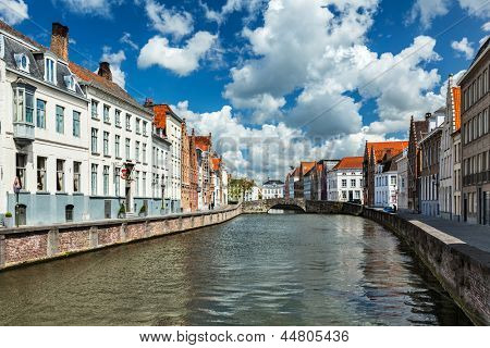 Canal and old houses in Bruges (Brugge), Belgium