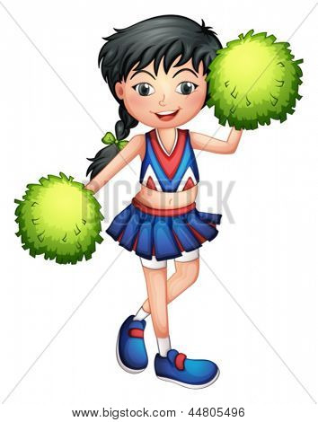 Illustration of a cheerleader with her green pompoms on a white background