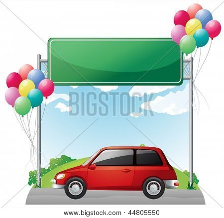 Illustration of a tinted red car near the empty green board on a white background