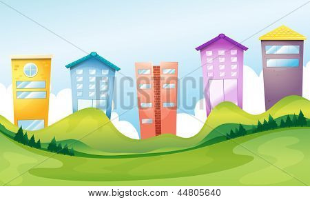 Illustration of the tall buildings across the hills