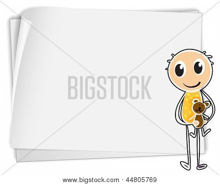 Illustration of a boy holding a teddy bear beside a white paper on a white background