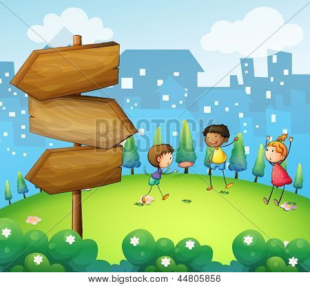 Illustration of the three kids playing in the hill with wooden arrowboard