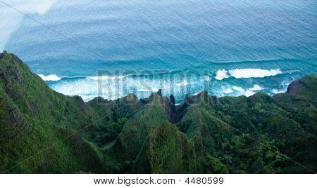 Aerial View Down The Na Pali Coastline In Kauai
