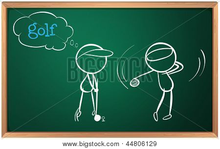 Illustration of a board with a sketch of two golf players