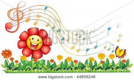 Illustration of a red flower in the garden with musical notes on a white background