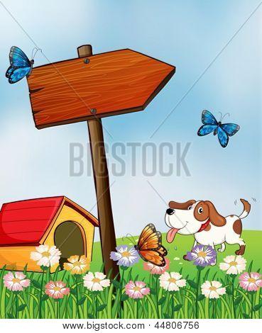 Ilustração de um cão com uma casinha de cachorro ao lado de um arrowboard