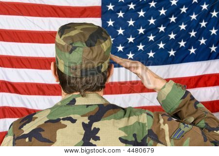 Saluting The American Flag