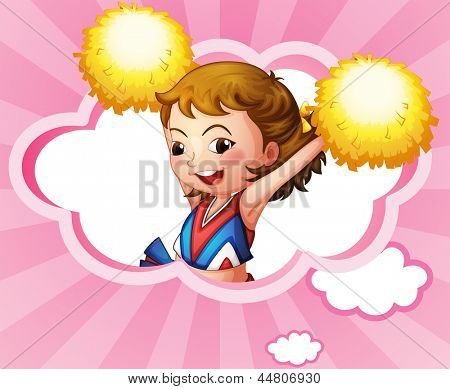 Illustration of a cheerdancer with yellow pompoms