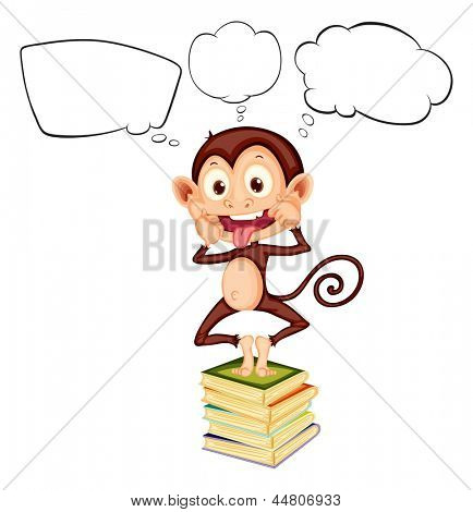 Illustration of a monkey above the pile of books with empty callouts on a white background