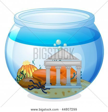 Illustration of an old museum inside the aquarium on a white background