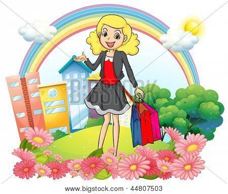 Ilustração de uma mulher com a compra de sacos de papel com fundo branco