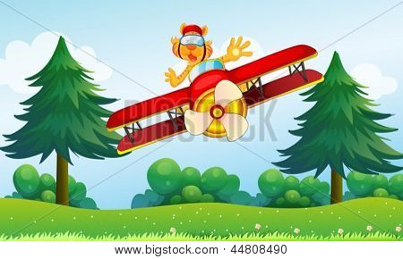 Illustration of a boastful tiger riding in a plane