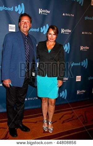 LOS ANGELES - APR 20:  Michael Sabatino, Crystal Chappell arrives at the 2013 GLAAD Media Awards at the JW Marriott on April 20, 2013 in Los Angeles, CA
