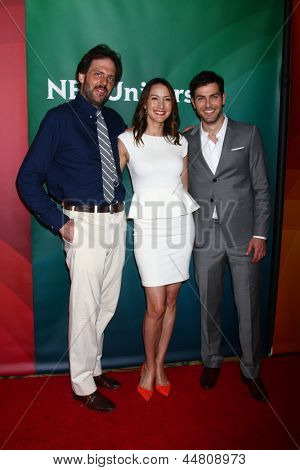 LOS ANGELES - APR 22:  Bree Turner, Silas Weir Mitchell, David Guintoli at the NBCUniversal Summer Pres Day 2013 at the Huntington Langham Hotel on April 22, 2013 in Pasadena, CA
