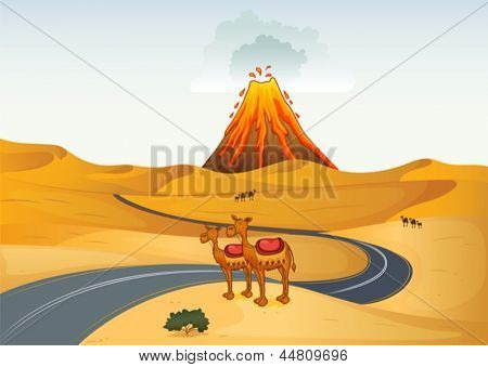 Illustration of the camels in front of a volcano at the desert