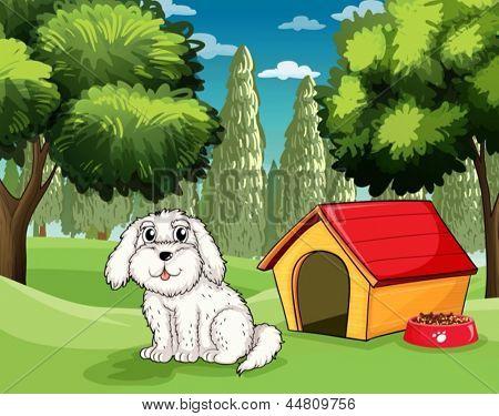 Ilustração de um cachorro branco fora de sua casinha de cachorro