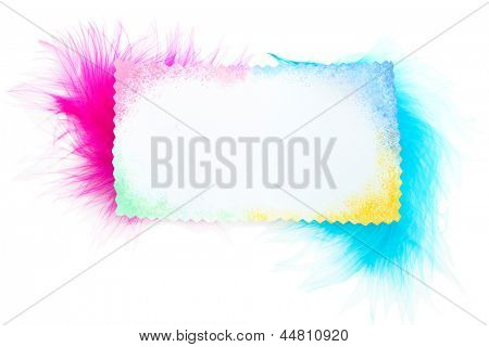 Beautiful decorative feathers and blank card, isolated on white