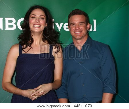 LOS ANGELES - APR 22:  Joanne Kelly, Eddie McClintock at the NBCUniversal Summer Pres Day 2013 at the Huntington Langham Hotel on April 22, 2013 in Pasadena, CA