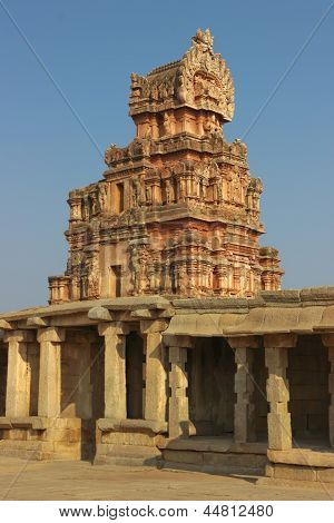One Of The Towers Of The Krishna Temple In Hampi