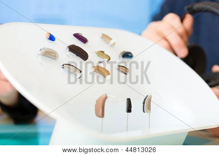closeup of a selection of hearing aids