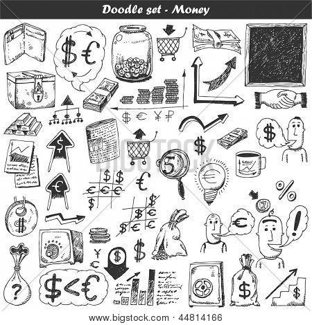 Doodle vector set - money