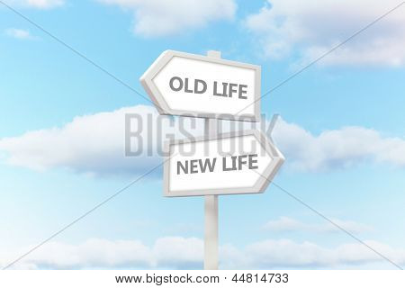 Old life and new life road sign with clouds behind