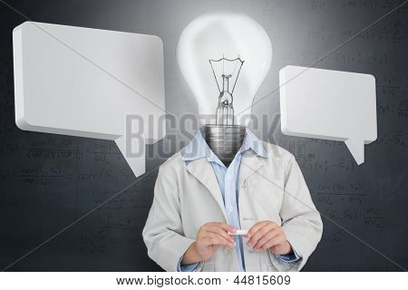 Man with light bulb for a head and two speech bubbles in front of grey background