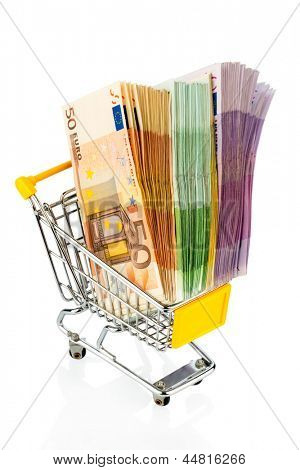 euro bills in a shopping cart photo icon for purchasing power, shopping, money printing and inflation