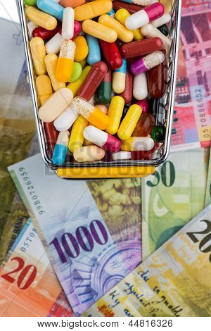 tablets, cart, swiss franc, symbol photo for drugs, health insurance, health care costs