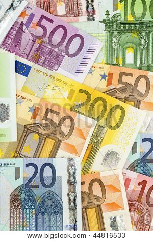 many euro banknotes. symbolic photo for wealth and investment.