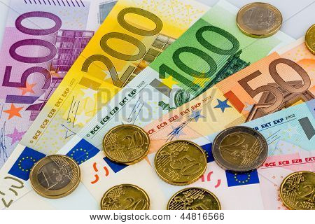 euro notes are adjacent. symbolic photo for earnings, sales and cash