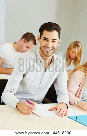 Happy student learning in class of university of applied science