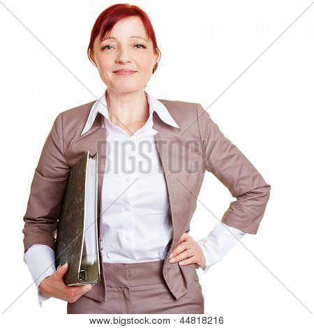 Happy best ager business woman with folder