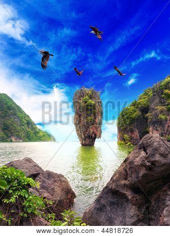 James Bond island Thailand travel destination. Phang Nga bay archipelago