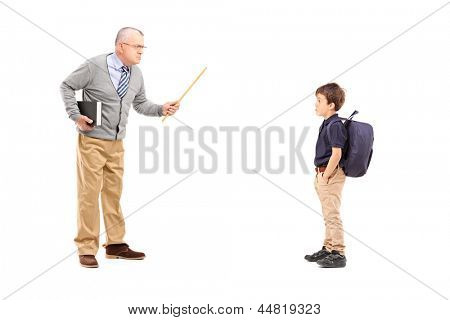 Full length portrait of an angry teacher shouting at a schoolboy, isolated on white background