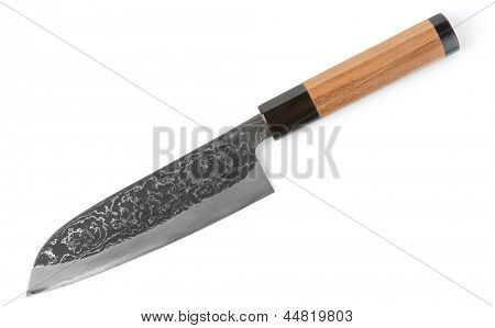 Expensive carbon steel japanese knife isolated on white