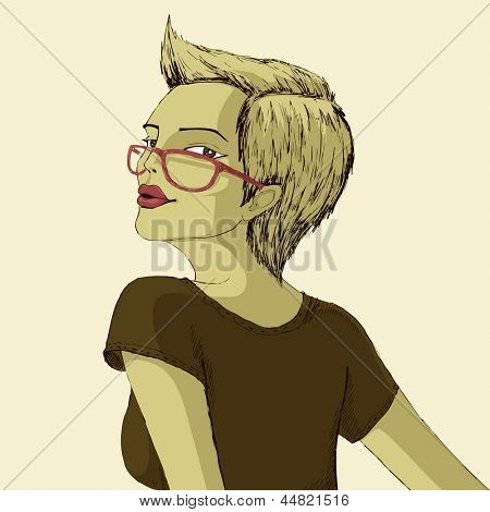 illustration of woman posing in casual dressup