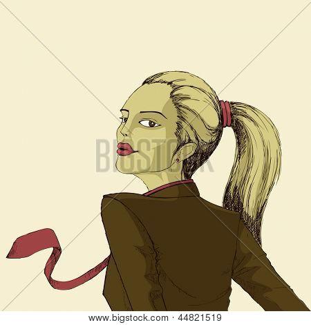 illustration of modern woman in formal dressup