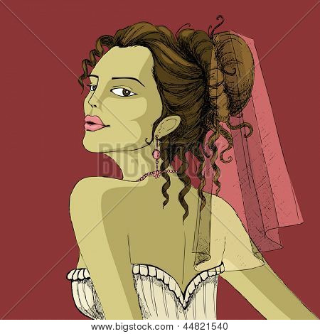 illustration of woman in bridal dressup in retro style